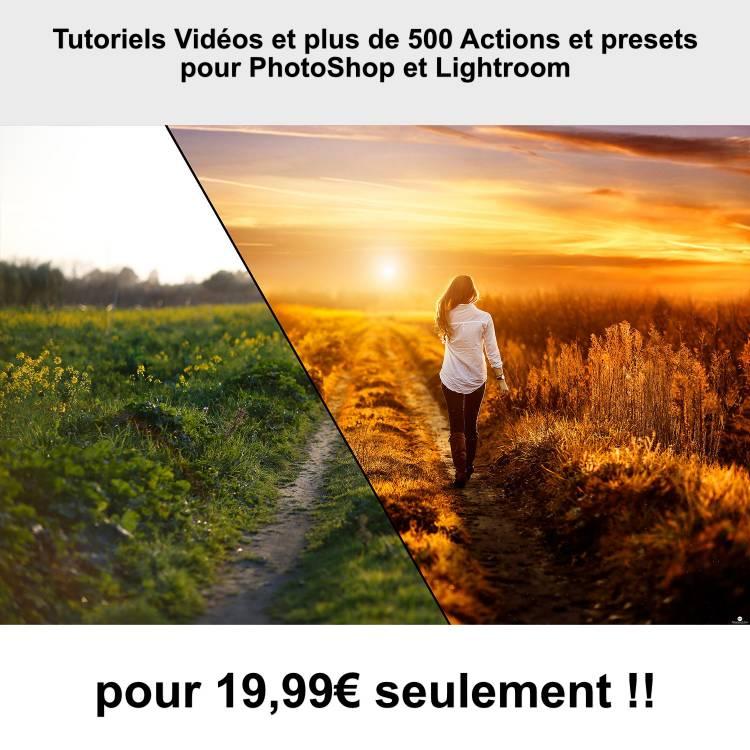 Tutoriels Vidéos et plus de 500 Actions et presets pour PhotoShop et Lightroom